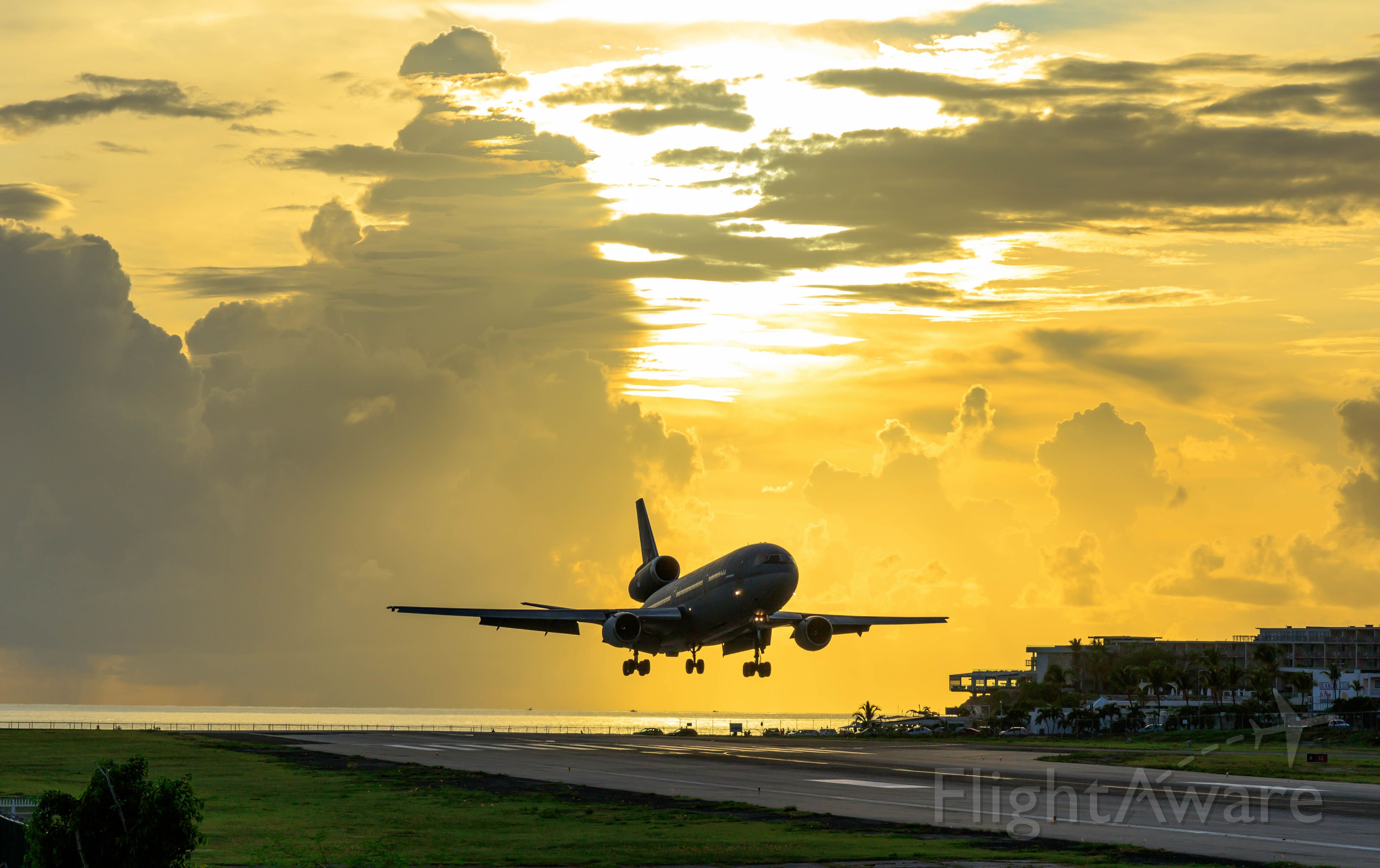 McDonnell Douglas DC-10 (T264) - Koninklijke Marine Royal Netherlands AirForce K-DC10 Call sign NAF40 seen landing at TNCM St Maarten at sunset with some extra troops from the 21 Raiding Squadron and supplies on board for our region. 07/09/2019