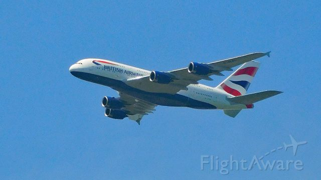 Airbus A380-800 (GXEL) - 6 miles ENE of IAD enroute to Dulles from London Heathrow