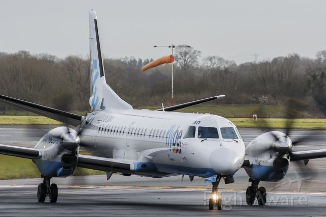 Saab 2000 (G-LGNO) - Just vacated runway 23R, operating on lease to Flybe.