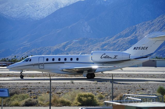 Cessna Citation X (N253CX) - Standing at the Palm Springs Aircraft Museum.  Have I walked further to the left the pavement view rises above the fence.