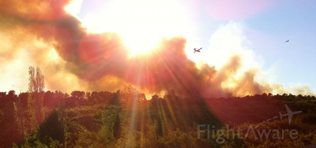 """Canadair CL-415 SuperScooper — - Fire fighting Bombardiers """"Canadairs"""" fighting a fire nearby Marseille, France. I have uploaded a video on my FB page, publicly available."""