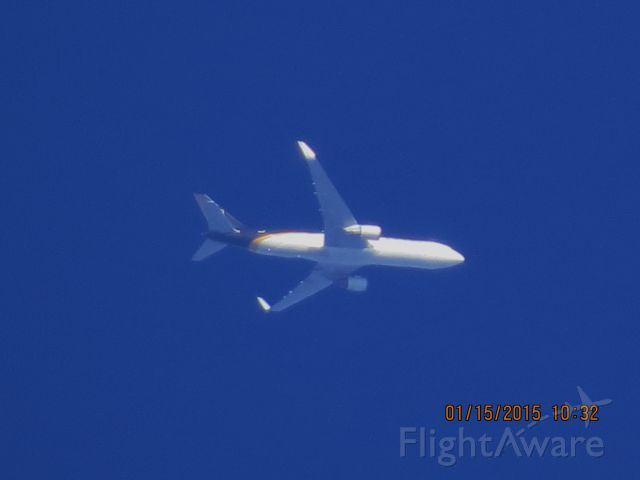 BOEING 767-300 (N334UP) - UPS flight 2867 from PHX to SDF over Southeastern Kansas at 37,000 feet.