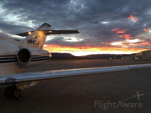 """Hawker Siddeley HS-125-400 (N845TM) - Photo taken by Steven Nice 8-11-15, """"Sunrise at Eagle""""."""