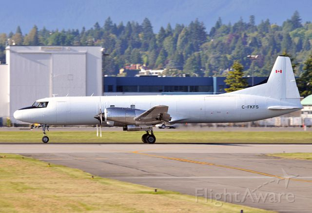 Bombardier Global Express (C-FKFS) - One of the rare stretched CV580 freighter.