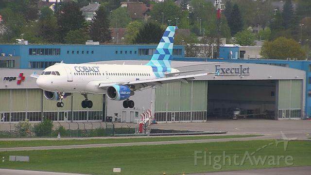 Airbus A319 (5B-DCU) - Now shut down Cobalt landing in Zurich, Switzerland.