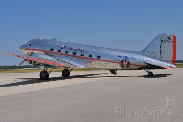 Douglas DC-3 (NAC17334) - Beautifully restored 1937 American Airlines DC-3 passenger plane at Columbus, IN Municipal Airport on 7-10-12.  Plane is owned by the Flagship Detroit Foundation, Southlake, TX.