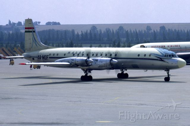 Ilyushin Zebra (HA-MOF) - IL-18V in August 1969 at Vienna (LOWW)
