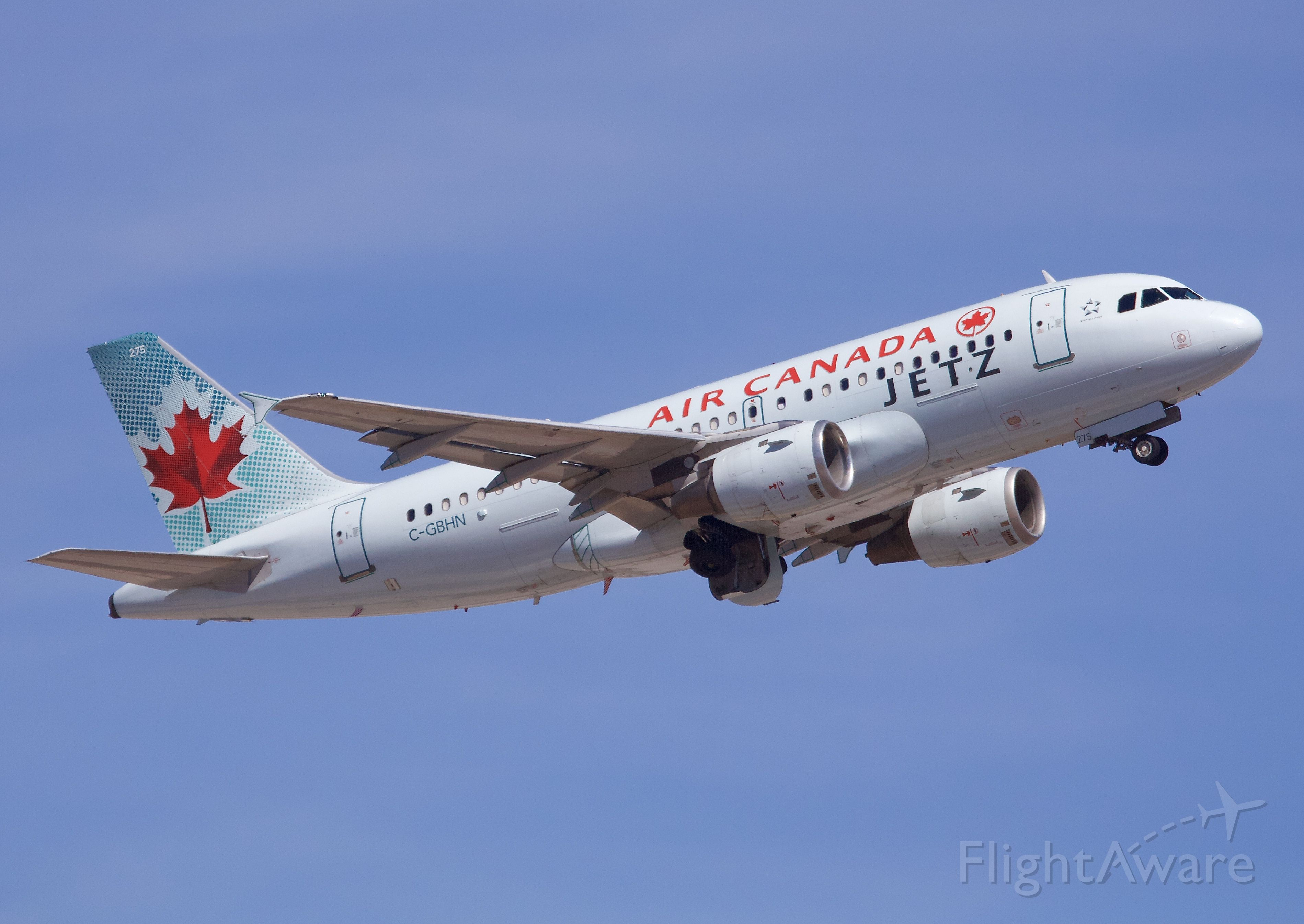 """Airbus A319 (C-GBHN) - The Air Canada Jetz Charter carrying the Winnipeg Jets departing Sky Harbor after defeating the Arizona Coyotes the night before (Please view in """"Full"""" for best image quality)"""