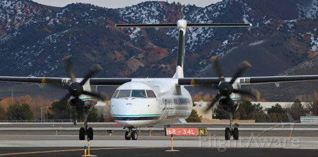 de Havilland Dash 8-400 (N405QX) - A Horizon (Alaska Airlines) Dash 8 turns north to begin taxiing back to the terminal at Reno Tahoe International after landing on 16R.