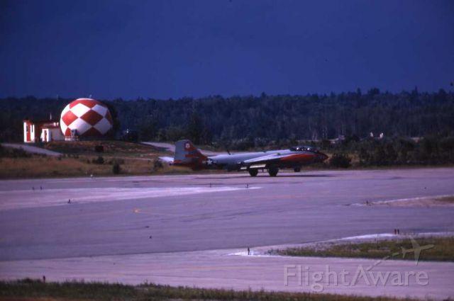 — — - USAF Canberra EW landing at CFB North Bay Canada.
