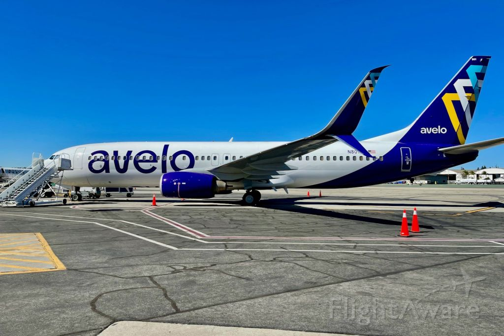 Boeing 737-800 (N801XT) - N801XT sitting at the gate while boarding Avelo's inagural flight.