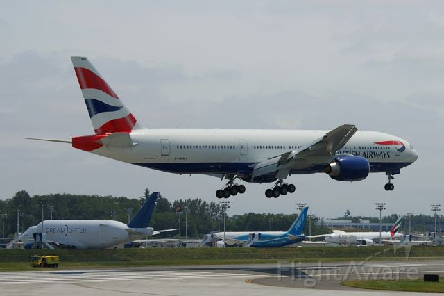 G-YMMT — - British Airways 777-200ER prepares to land at KPAE.