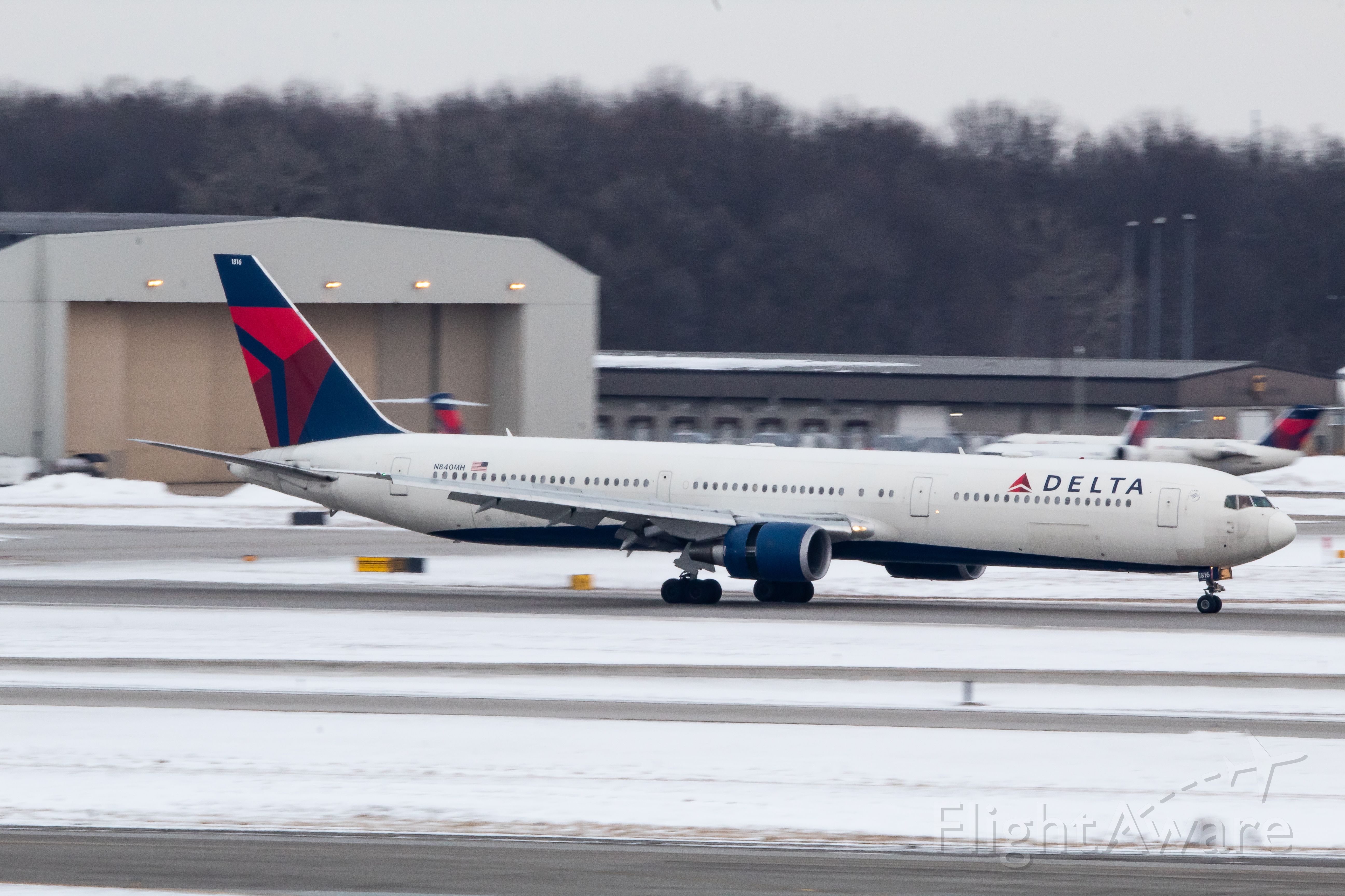 BOEING 767-400 (N840MH) - Delta 767-400 slowing down on 21L after its domestic flight from Fort Myers (RSW) Florida.