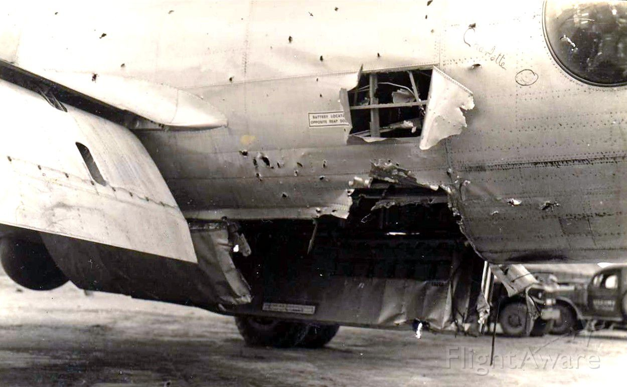 Boeing B-29 Superfortress — - Note severe combat damage but she brought them home