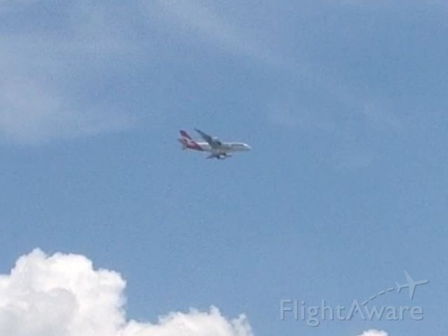Airbus A380-800 (VH-OQH) - Qantas flight 7 coming in to Dallas from Sydney