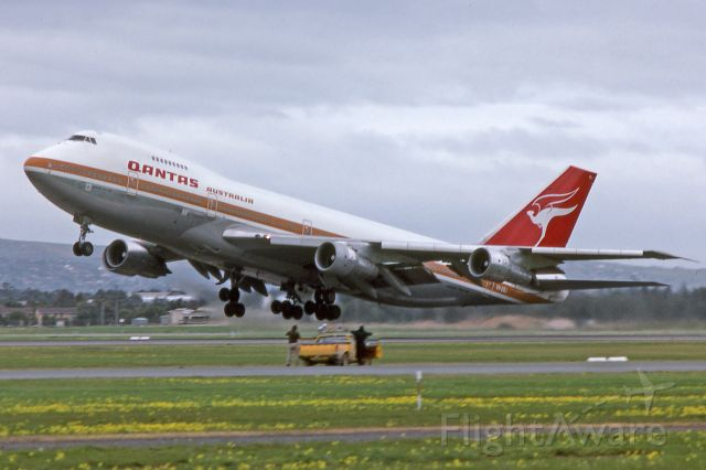 Boeing 747-200 (VH-EBJ) - Departing runway 05, Adelaide, South Australia September 2, 1984.