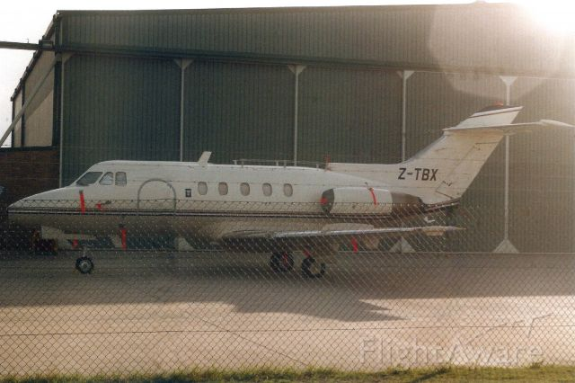 Hawker Siddeley HS-125-400 (Z-TBX) - Seen here on 11-Apr-92.br /br /Reverted to ZS-MAN 28-Sep-94.