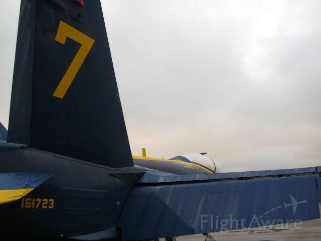 McDonnell Douglas FA-18 Hornet (16-1723) - Blue Angel 7 on ramp at Eau Claire