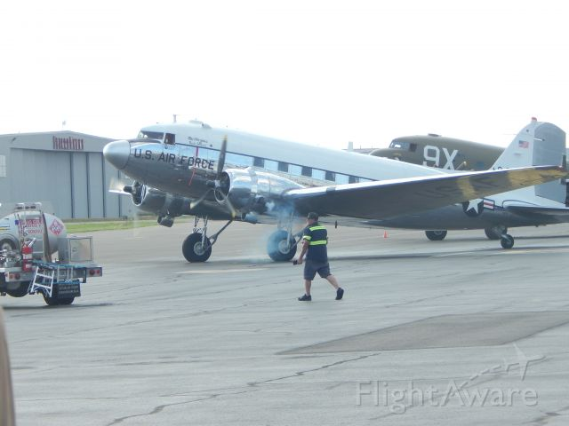 Douglas DC-3 (N47E) - Miss Virginia starts her engines at HEF to fly to Washington D.C for 4th of July Flyovers