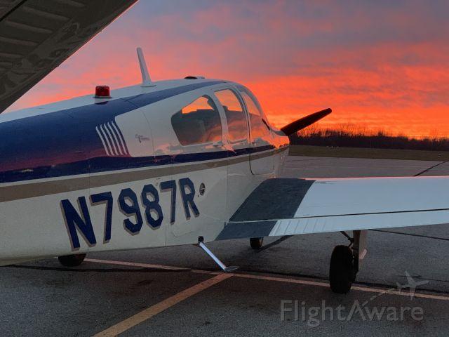 Beechcraft 35 Bonanza (N7987R) - KADG winter sunset