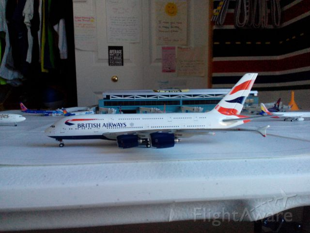 Airbus A380-800 (G-XLEA) - I have a 1 400 scale model airport modeling LAX, and this is my BA A380 model. Enjoy!