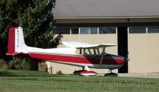 Cessna Skyhawk (N5757A) - Enjoying the sunny day is this 1956 Cessna 172 Skyhawk in the Autumn of 2020.