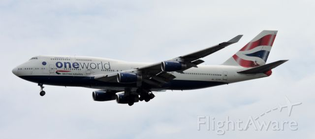 Boeing 747-400 (G-CIVK) - One World Livery moments before landing, spring 2019.