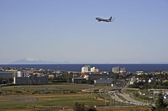 TF-FIZ — - Overflight by Icelandair TF-FIZ over Reykjavik City during a flight show.