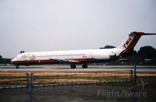 McDonnell Douglas MD-80 (N9621A) - KSJC - TWA MD-80 series departing Runway 12R for STL/KSTL in this early AM photo. This before SJC/KSJC had 2 main runways - photo date apprx late 1990s early 2000. CN5359 LN 2234