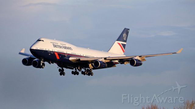 Boeing 747-400 (G-BNLY) - BAW49 from LHR on final to SEA Rwy 34R on 3.28.19. (B747-436 / ln 959 / cn 27090). (Landor 1984 - 1987 retro livery).