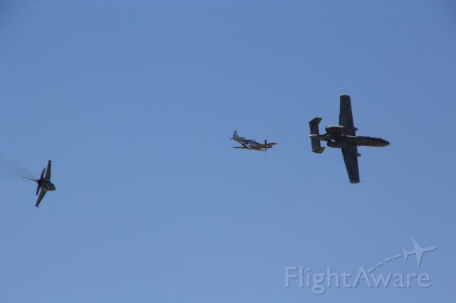 """— — - F-16, P-51, and A-10 break formation after """"Heritage Flight"""" fly-by at 2017 Sun"""