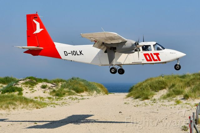 ROMAERO Islander (D-IOLK) - Britten-Norman BN2B-20 Islander.<br />The German airline OLT (OFD) makes several daily flights from the mainland to the dune of Heligoland.
