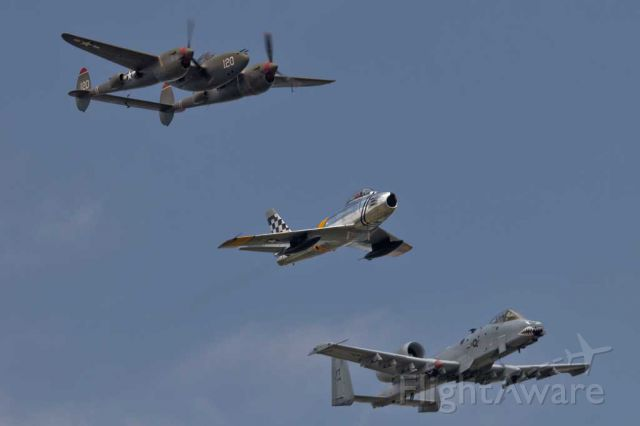 — — - Heritage flight with P38, F-86 and A-10C