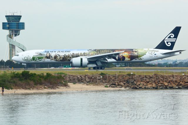 BOEING 777-300ER (ZK-OKP) - First time in Sydney wearing the Hobbit's livery.