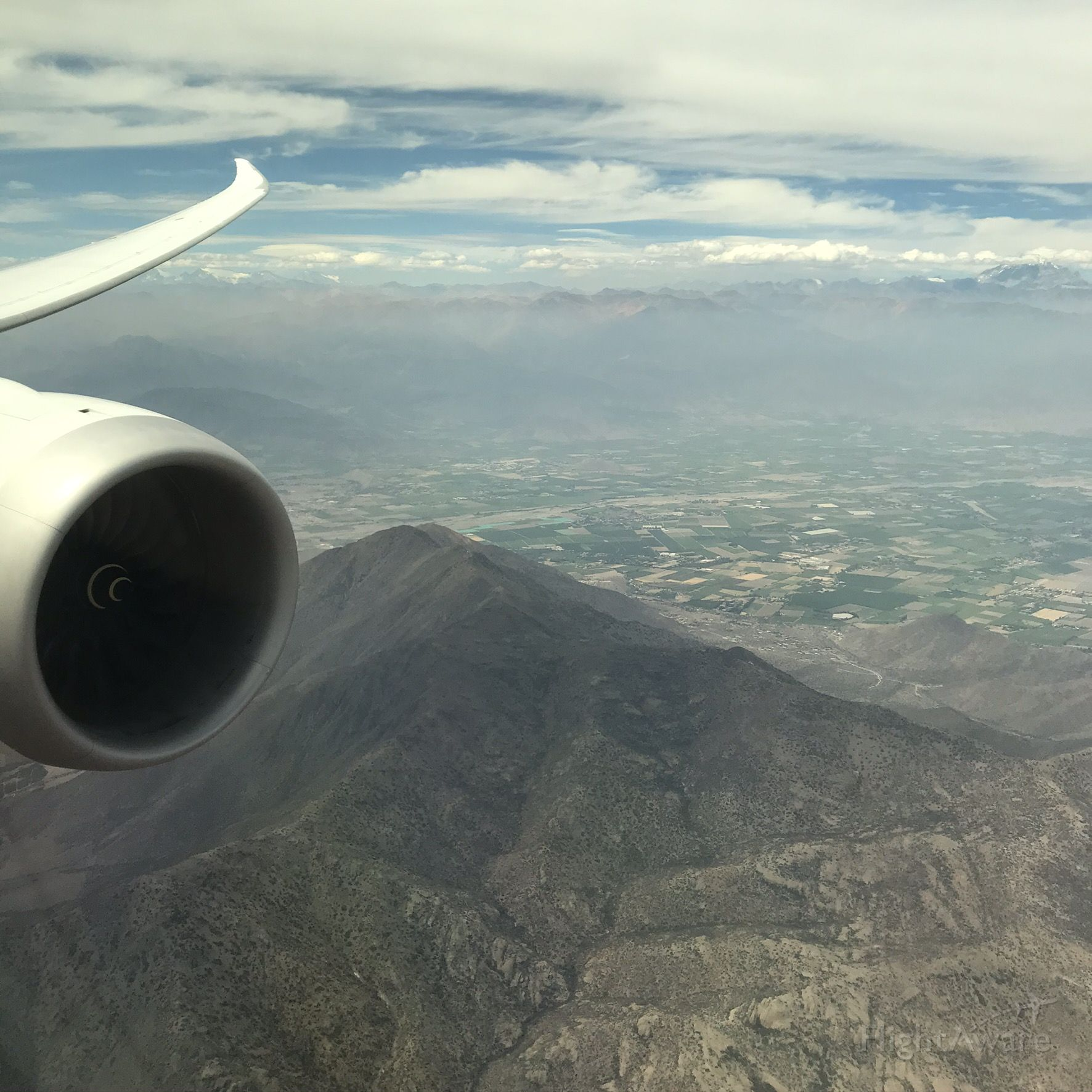 — — - Final approach into Santiago, Chile
