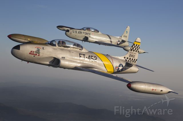 Lockheed T-33 Shooting Star (N133HH) - Acemaker II leads Acemaker I around Lake Berryessa in Northern California