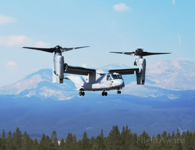 — — - Bell and the United States Marine Corps brought this Osprey to Leadville for High Altitude Hover Testing.
