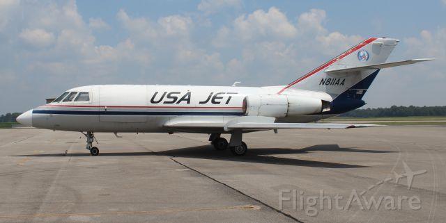 Dassault Falcon 20 (N811AA) - A 1968 Model Dassault / SUD Fan Jet Falcon Series D (JUS 811) on the ramp at Pryor Regional Airport, Decatur, AL - July 25, 2018.