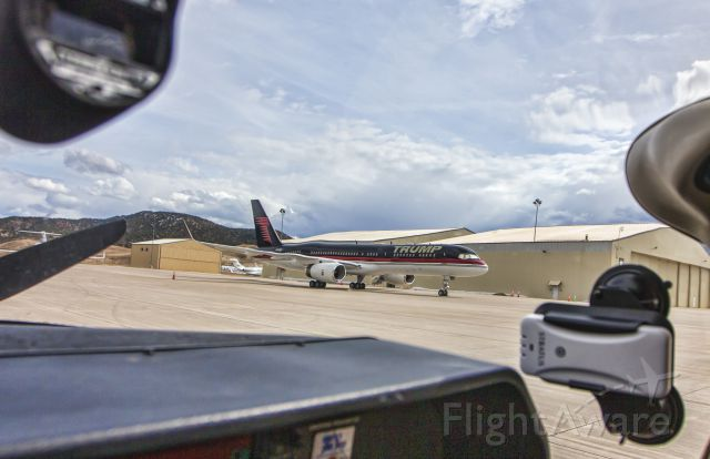 TR-UMP — - March 13, 2015 - TRUMPs 757 was parked at KEGE because it was said the 757 was not able to land at their true destination, Aspen (KASE), because of the size of the aircraft.  They land at Eagle and drive over to Aspen.