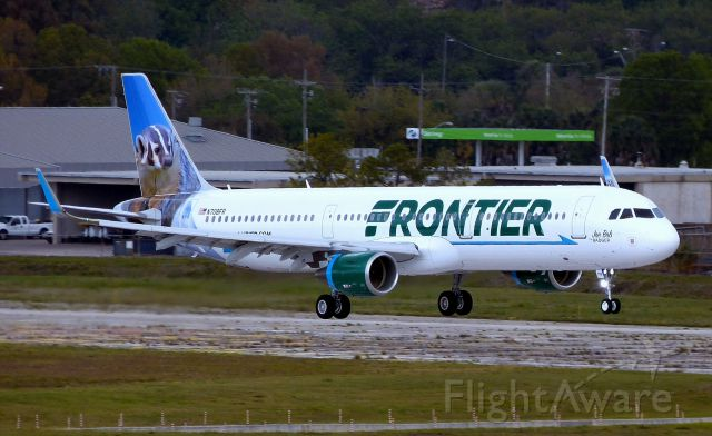 """Airbus A321 (N708FR) - Newest Frontier A321, """"Joe Bob the Badger"""" arriving Tampa Florida from Hamburg."""