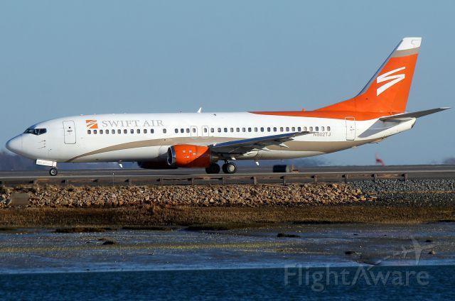 BOEING 737-400 (N802TJ) - Swiftflight 2958 heading for departure to Ft. Lauderdale