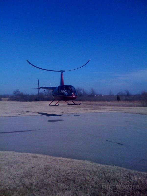 """Robinson R-44 (N96TS) - R44 Taking off at the Claremore Regional Airport in Claremore Oklahoma.  Photo by Michael Curtis, FBO Manager, United States Aviation at the Tulsa International Airport.  For """"Beyond First Class"""" service contact us at (918) 836-7345"""