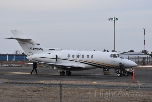 N488AM — - A Raytheon Hawker 800 gets serviced at Monmouth Airport, NJ February 2021.