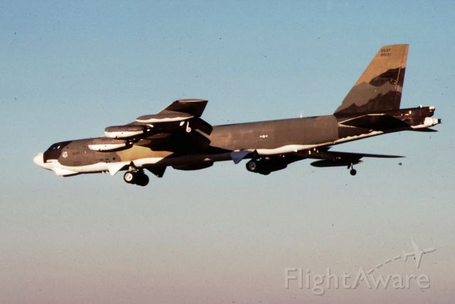 59-0191 — - B-52G at Castle AFB in SEP 1984.  Made from 35mm slides, I took these photos upon arrival at Castle AFB where I was assigned for B-52 co-pilot training.  Notice the white bottom designed to reflect a nuclear flash, also known as the SIOP scheme.