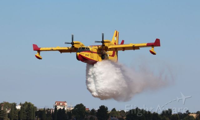 Canadair CL-415 SuperScooper — - Flypast and water drop demo during Athens Flying Week 2019