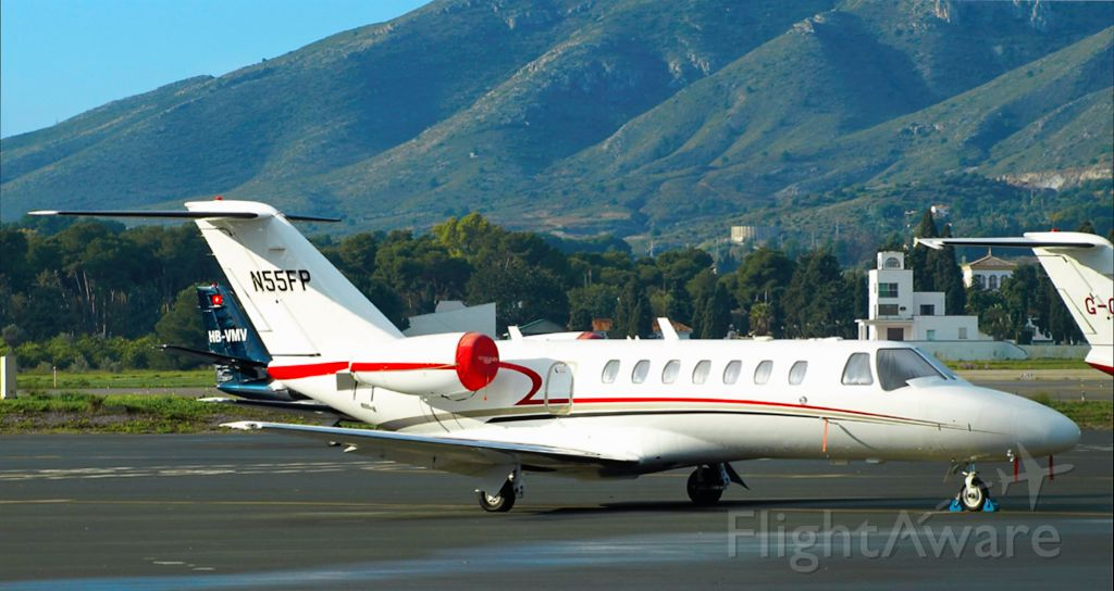 Cessna Citation CJ3 (N55FP) - A Citation CJ3 parked on the ramp at Malaga Airport in Spain.