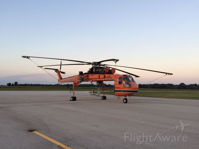 "N158AC — - A 1968 SIKORSKY S-64F sky crane named ""Goliath"" made an overnight stop. Very impressive aircraft."
