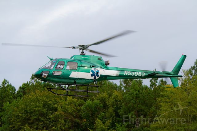 N53963 — - The Carolina LifeCare Eurocopter leaves Roper St. Francis Medical Center Berkeley on assignment.