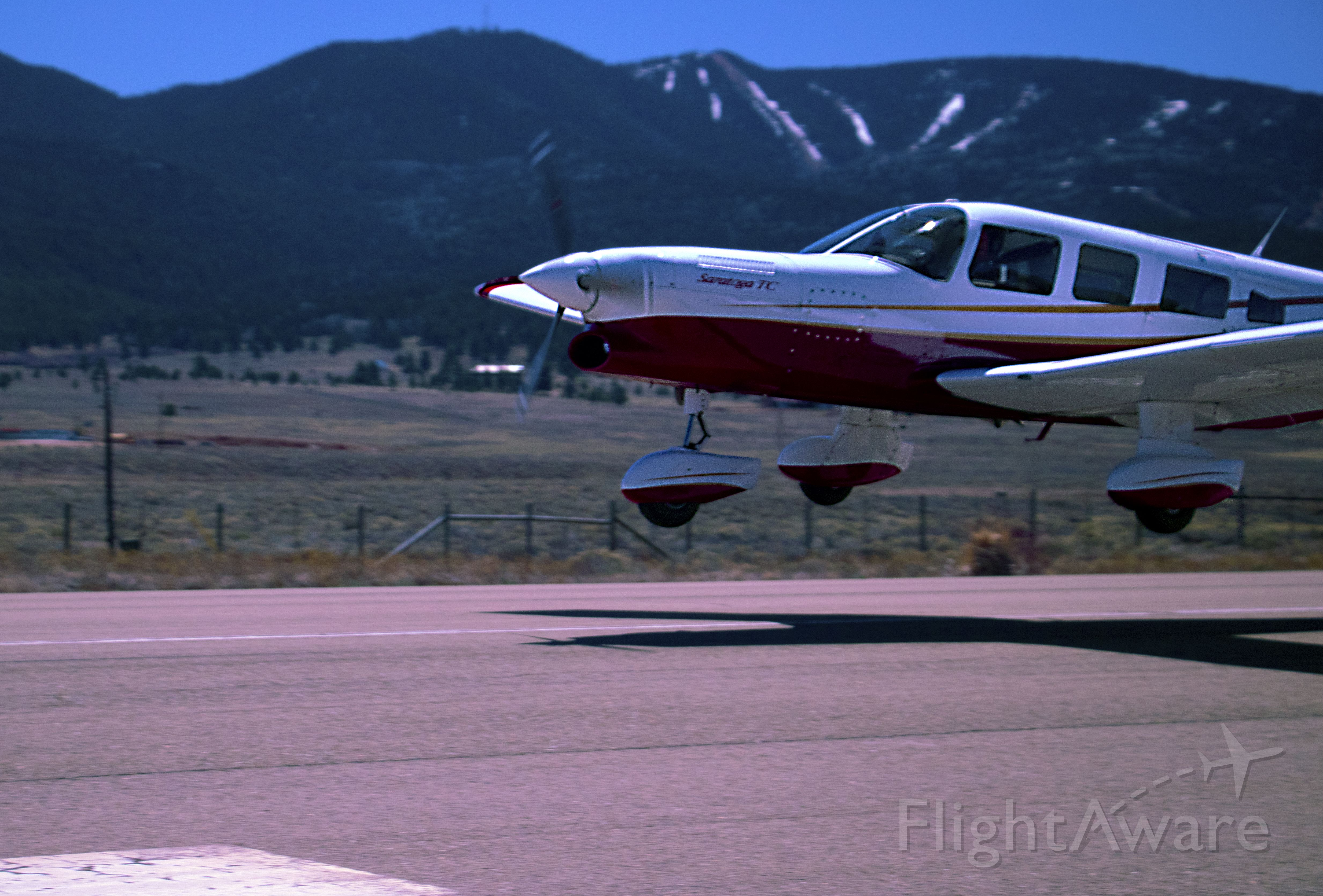 Piper Saratoga (N624DP) - Saratoga N624DP about to land in Angel Fire, New Mexico - 4th highest airport in the U.S. at 8,380 ft MSL