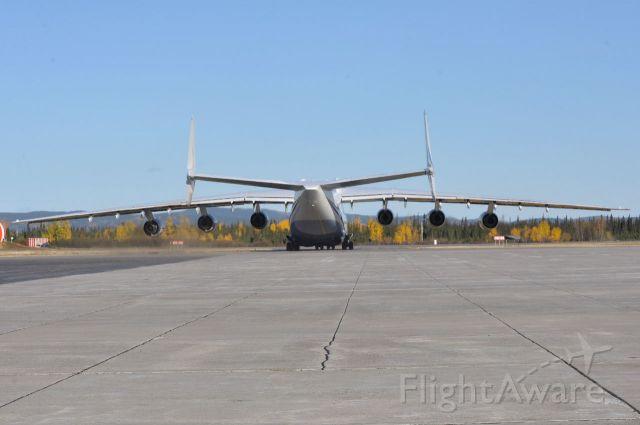 Antonov Antheus (UR-82060) - Taxiing to runway 08 before blowing the runway signs down.